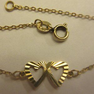10k yellow gold heart chain bracelet